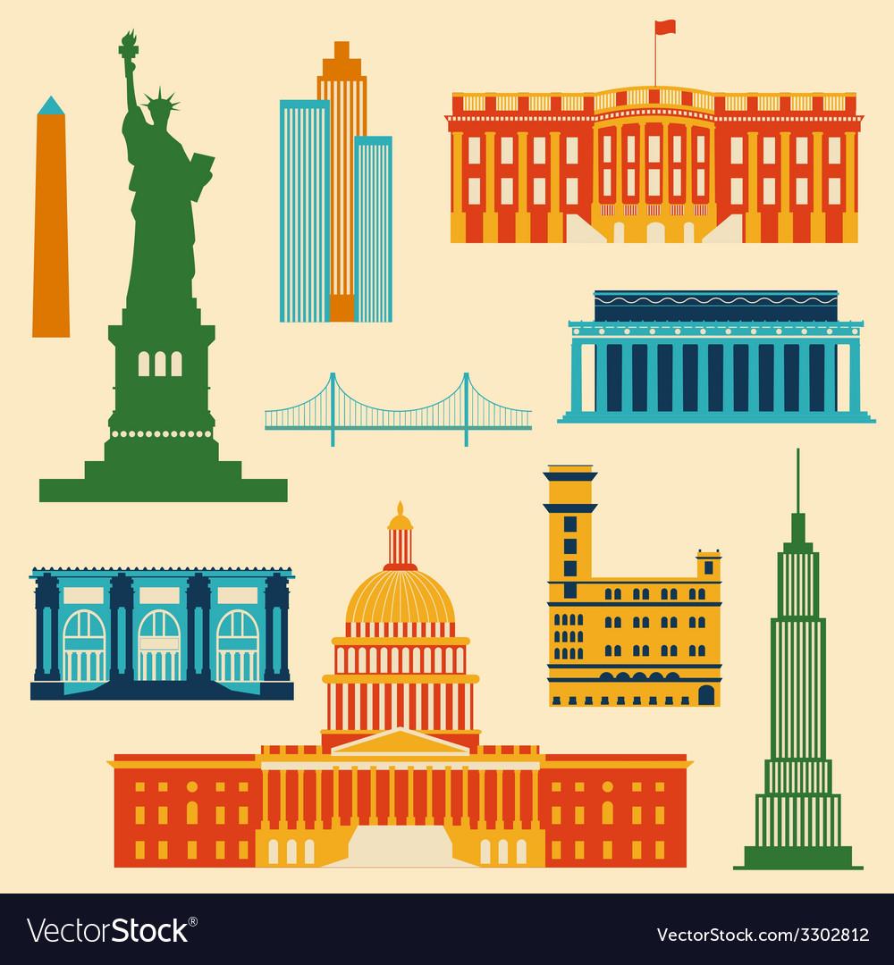 Landmarks of United States of America vector image