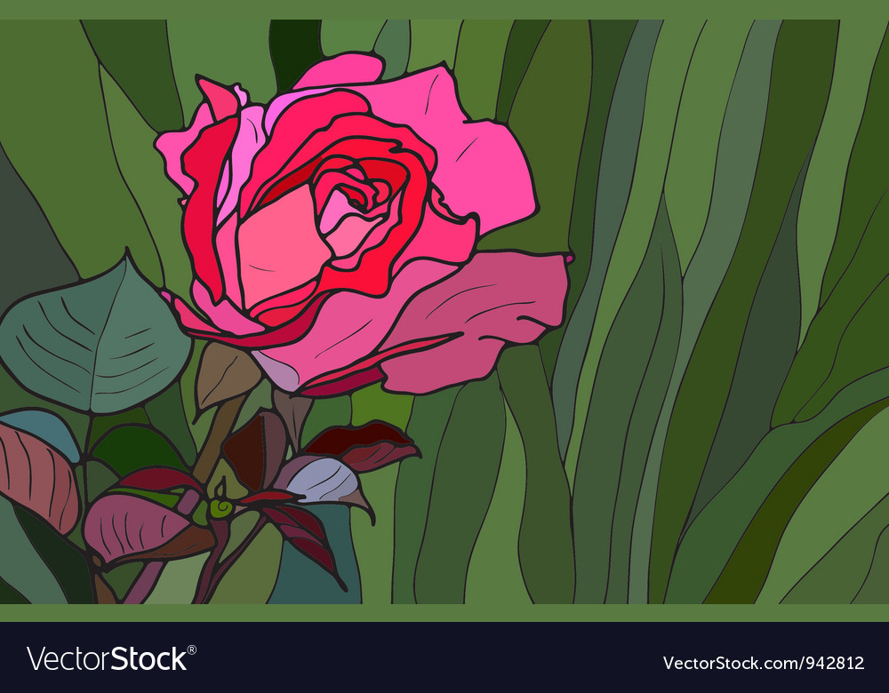 Rose Stained Glass Window Vector Image