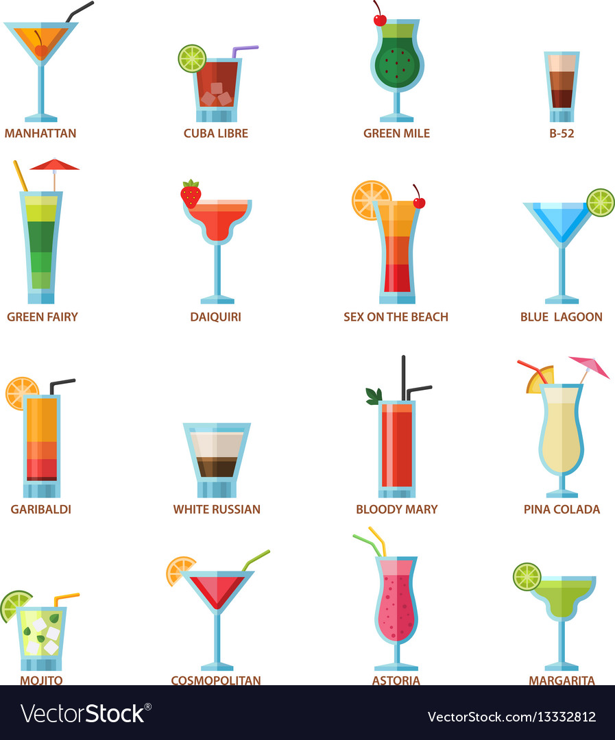 Set of different alcohol drink cocktails vector image
