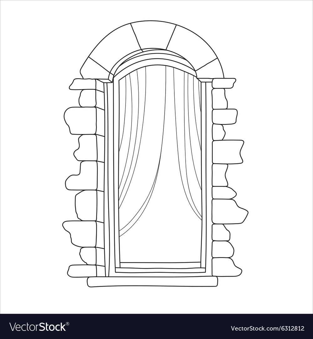 vintage window drawing. vintage window vector image drawing
