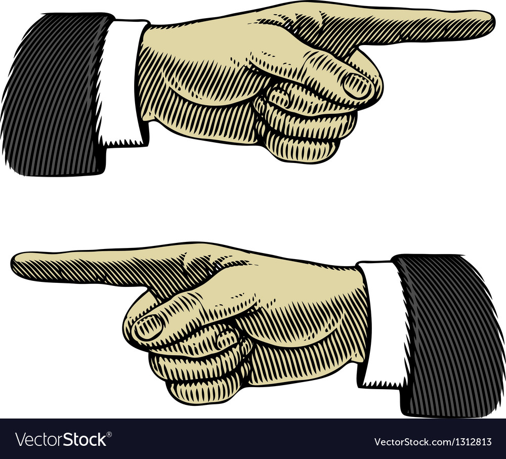 Hand with pointing finger left and right vector image