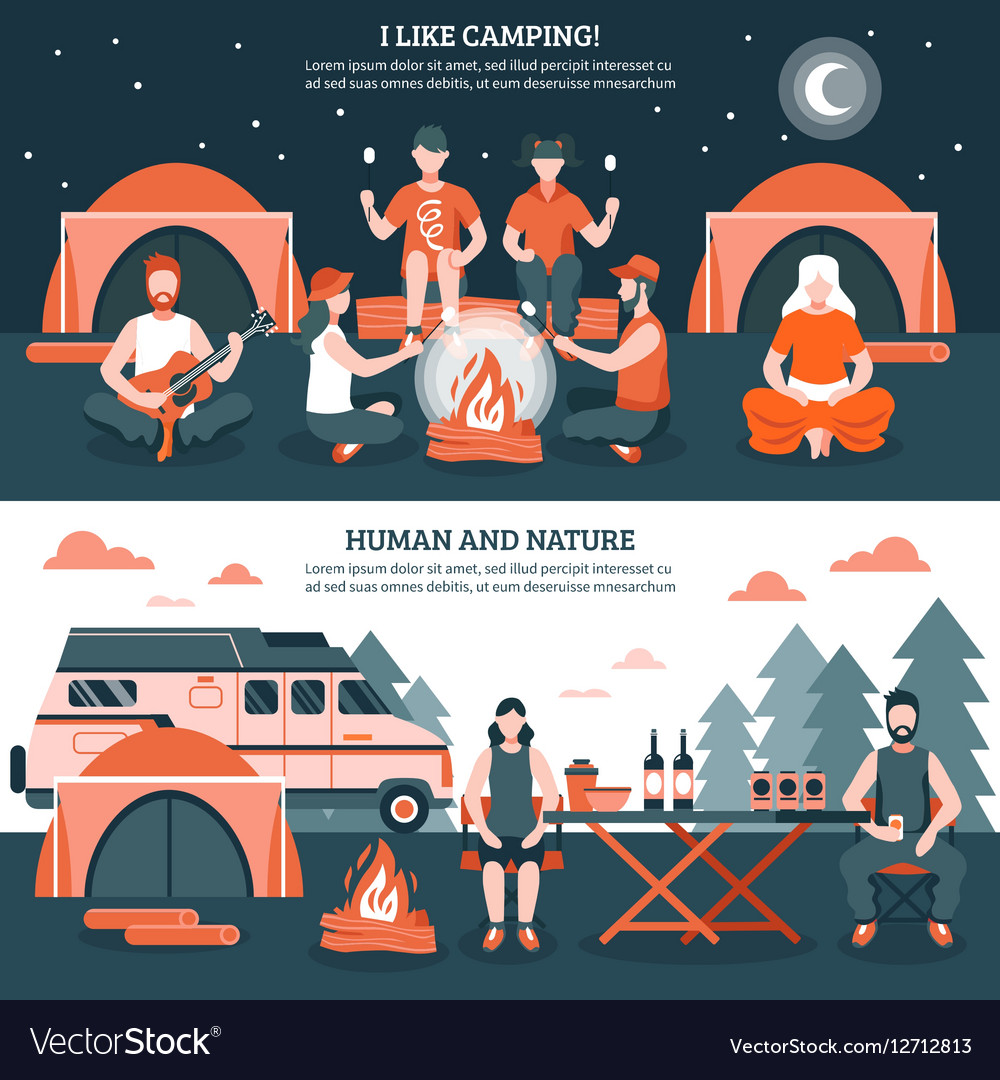 Camping In The Wild Banners vector image