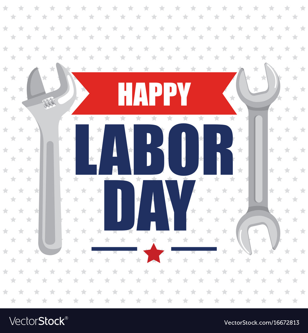 Happy labor day poster lettering and tools symbol vector image buycottarizona Choice Image
