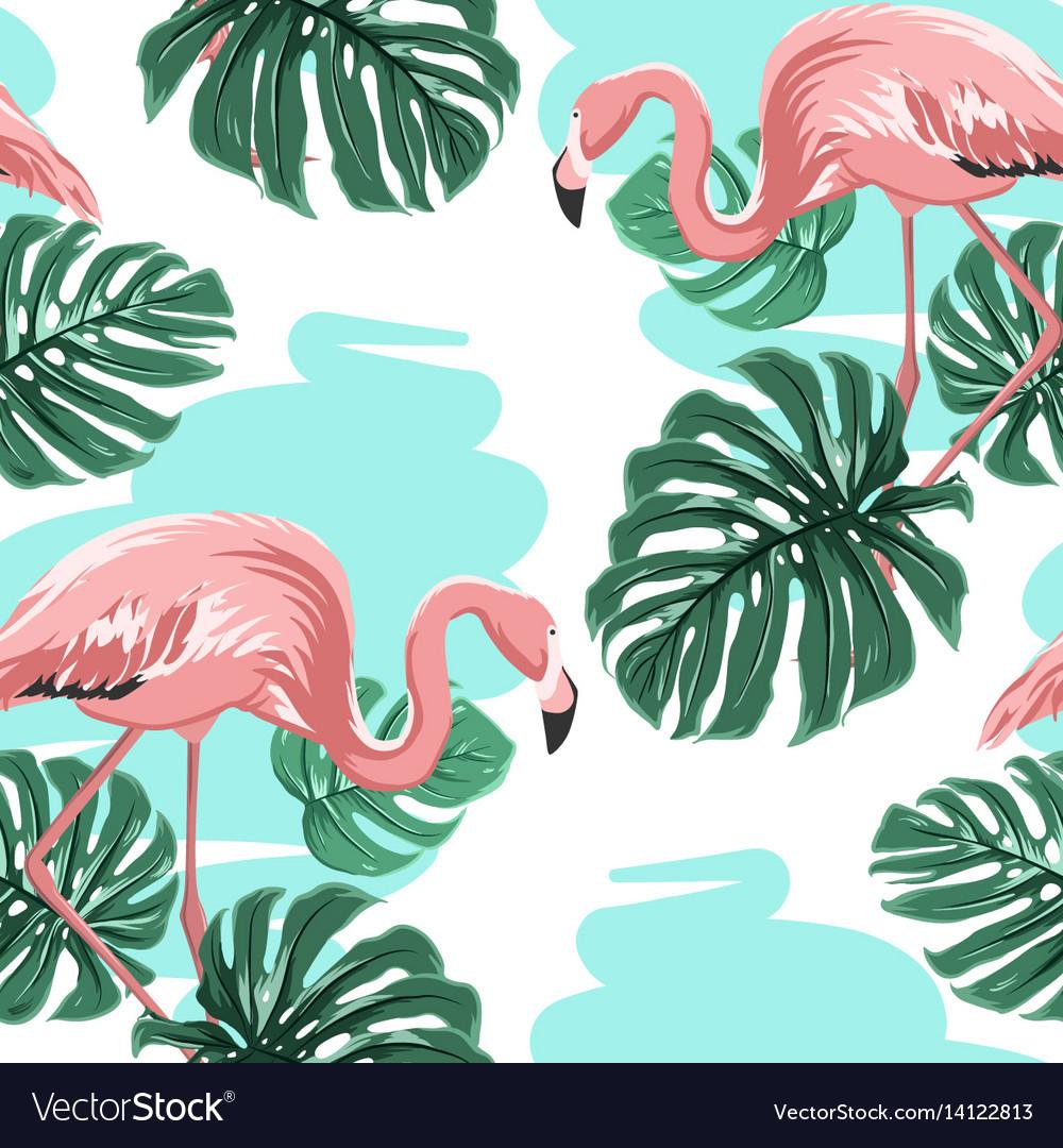 Pink flamingos blue lake monstera leaves pattern vector image