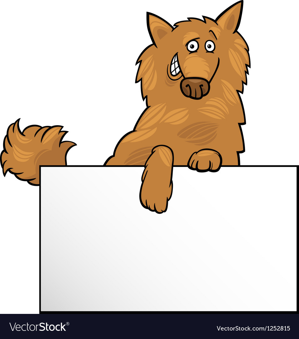 Cartoon dog with board or card design vector image