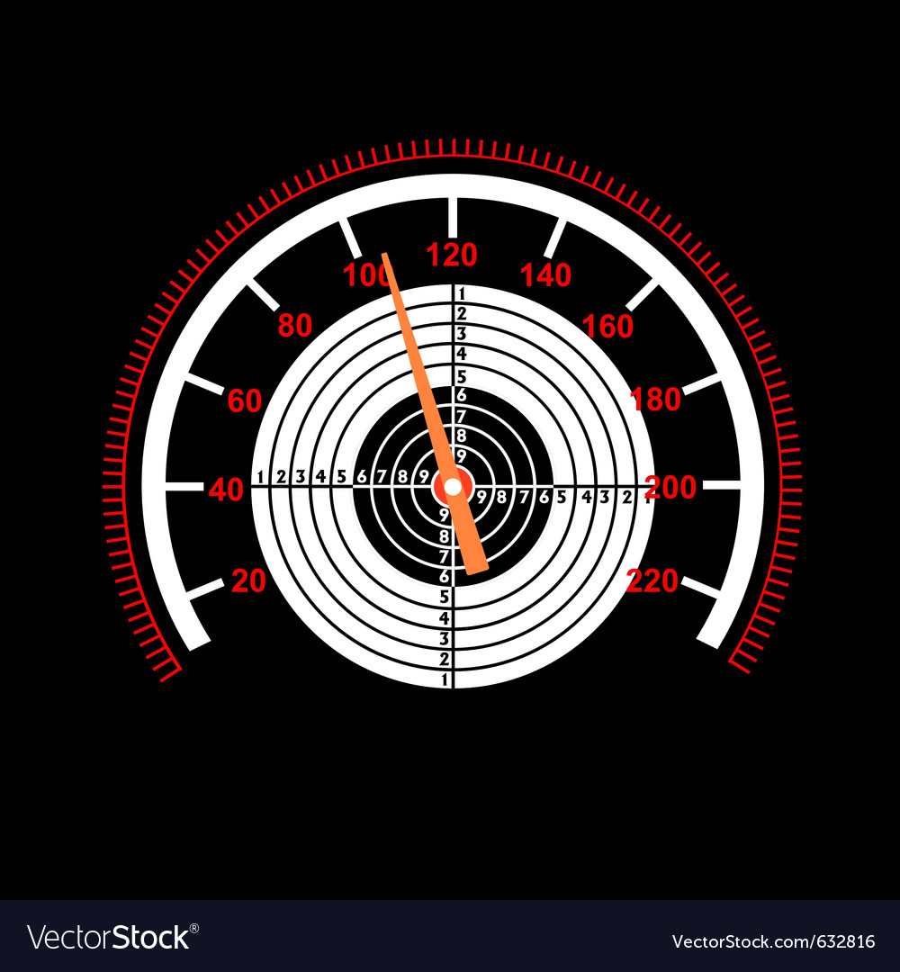 Car speedometer with a target in the middle vector image