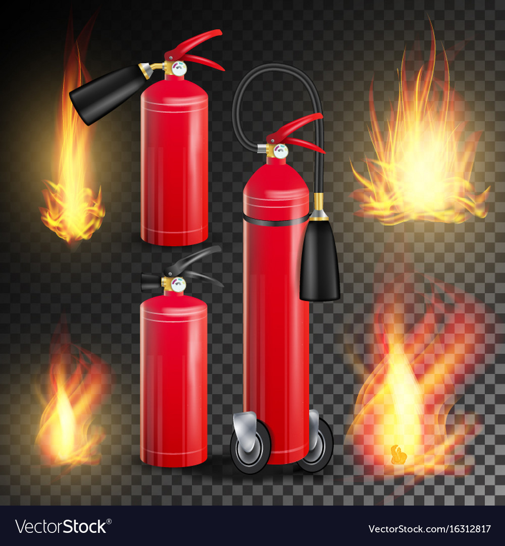 Red fire extinguisher fire flame sign vector image