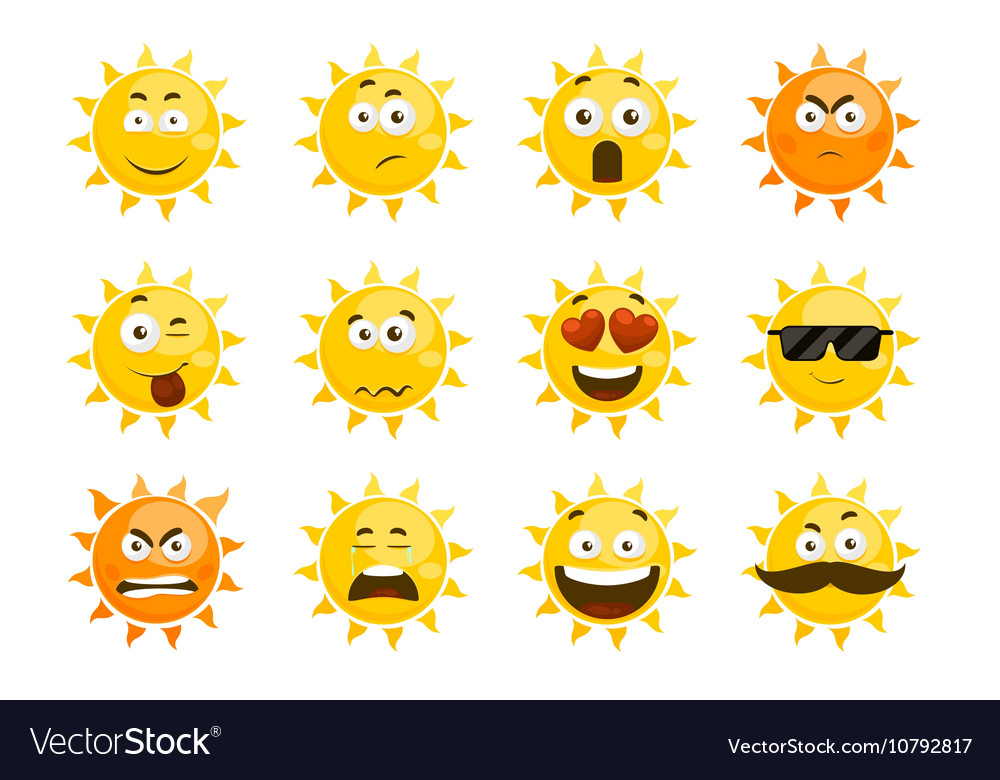 Smiling sun emoticons cartoon smile set vector image