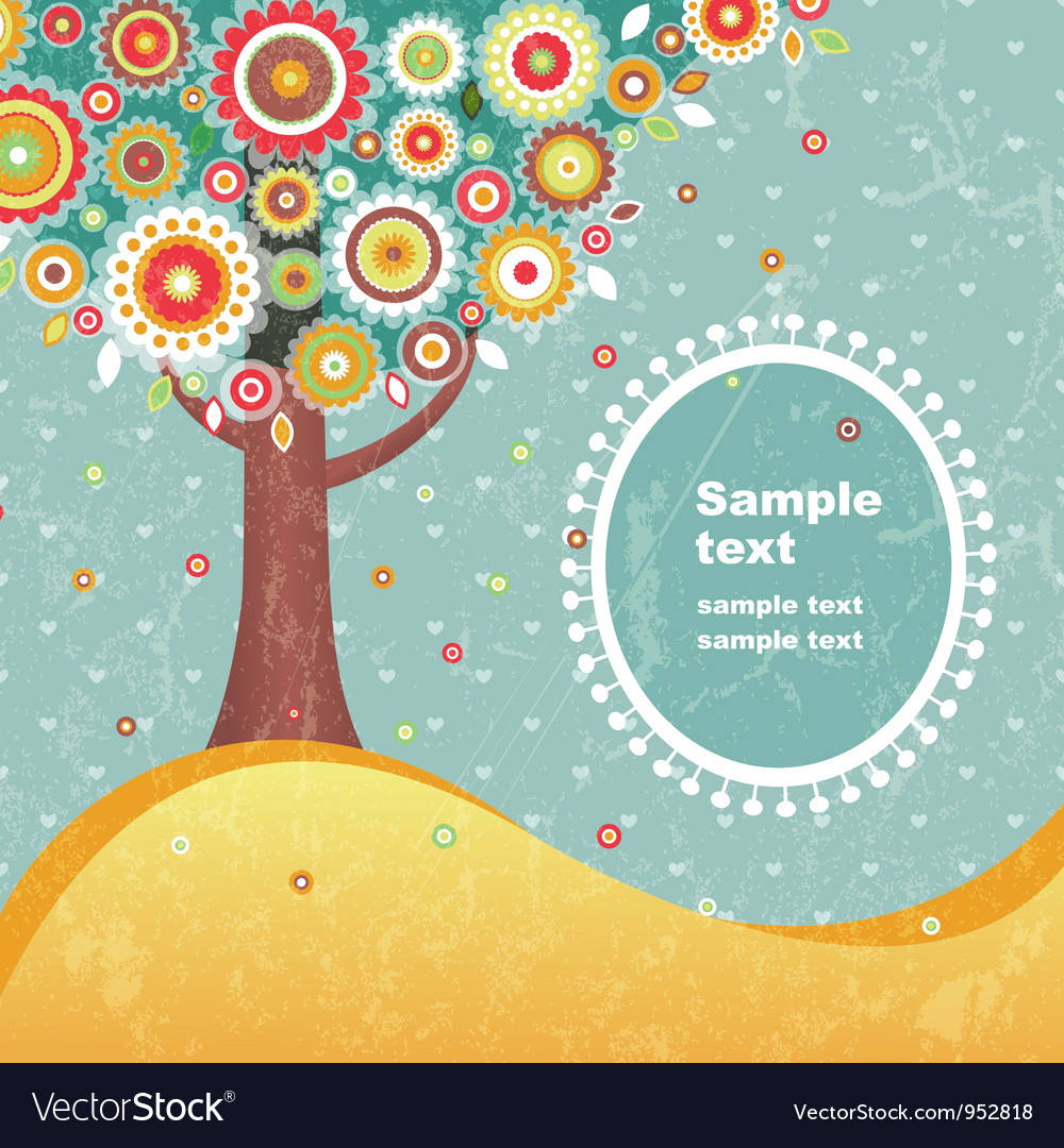 Abstract tree with flowers vector image