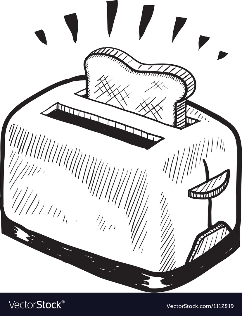 toaster clipart black and white. doodle toaster toast vector image clipart black and white