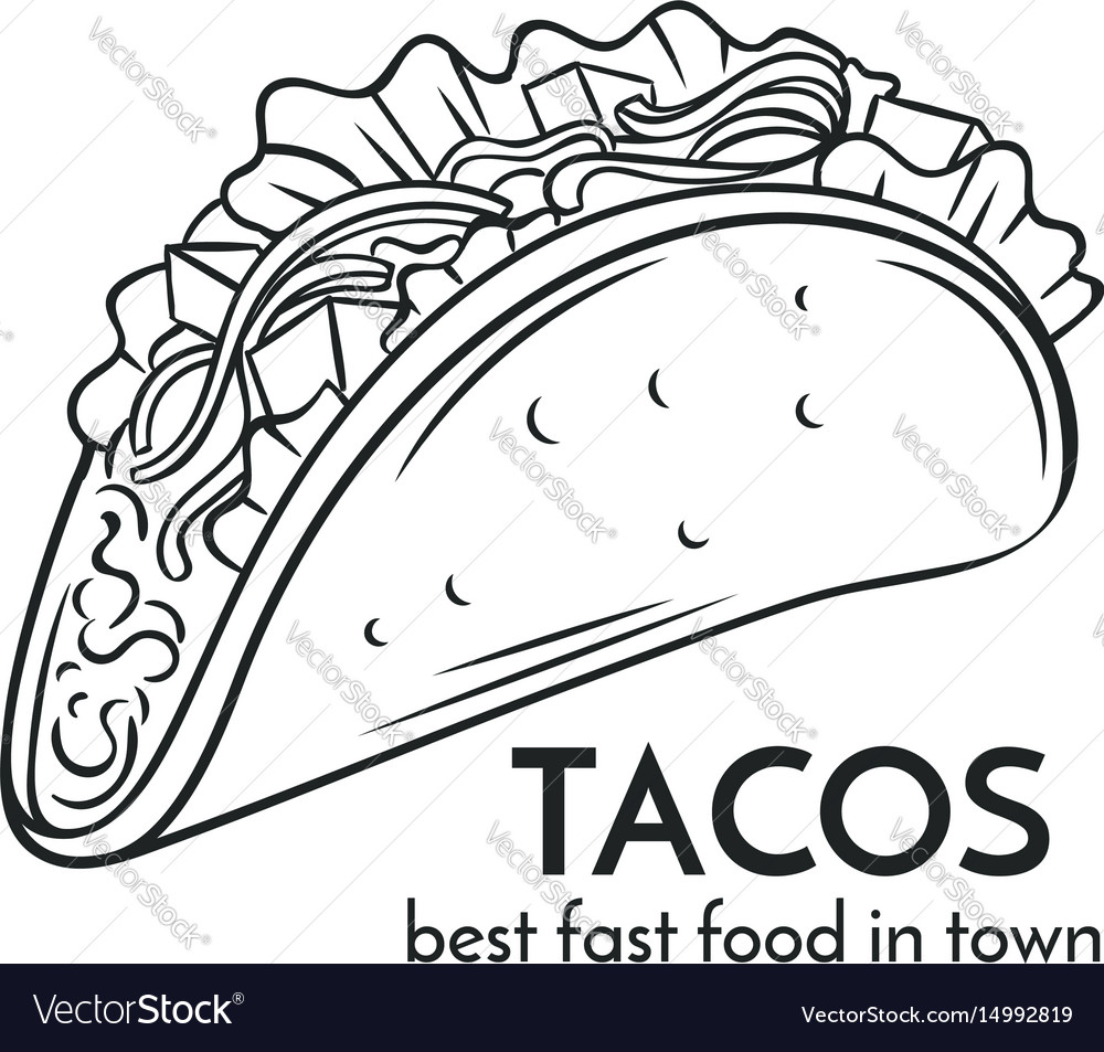Hand Drawn Tacos Icon Royalty Free Vector Image