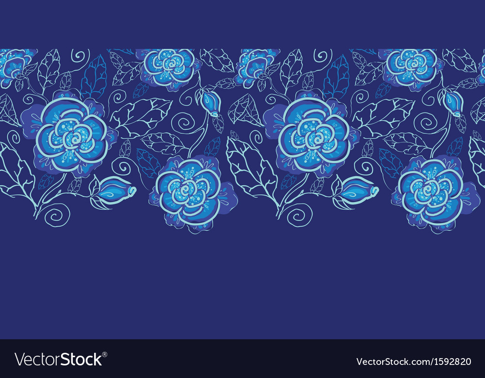 Blue night flowers horizontal seamless pattern vector image