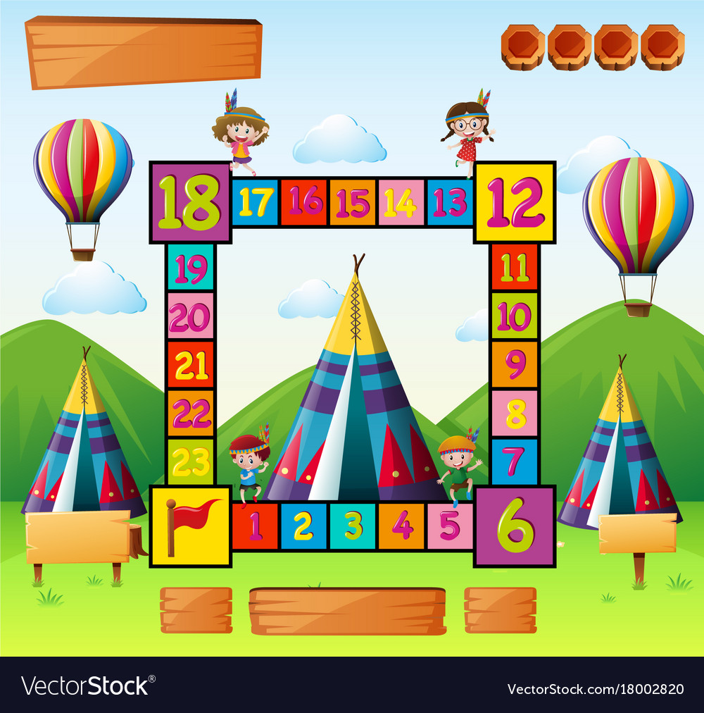Boardgame template with kids and teepees vector image