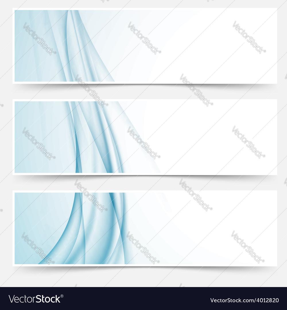 Swoosh blue modern abstract web element set vector image