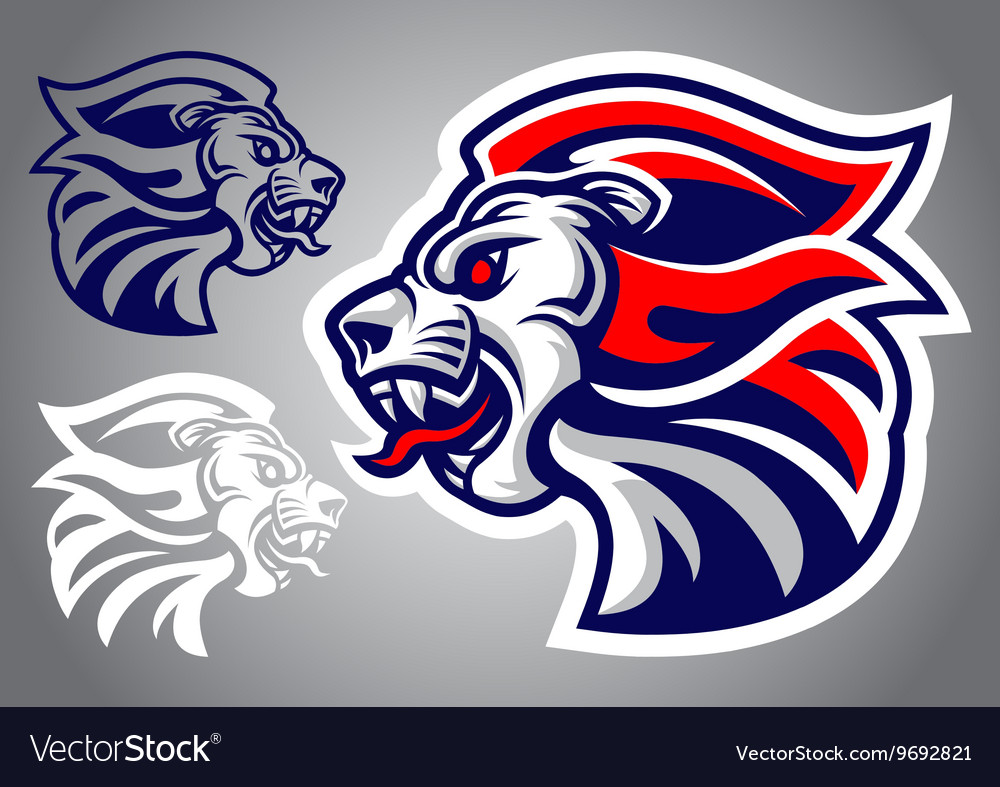 Lion head blue red logo vector image