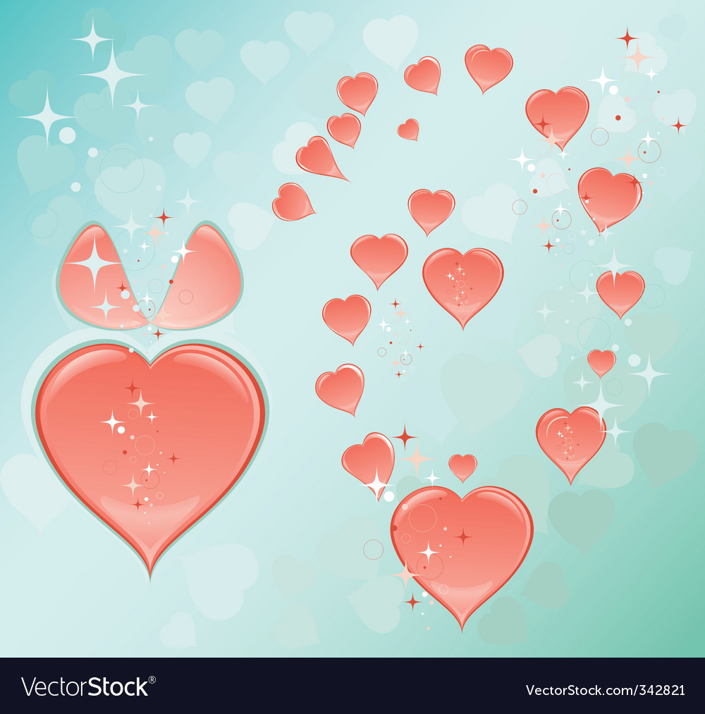 Blue romantic background with hearts vector image