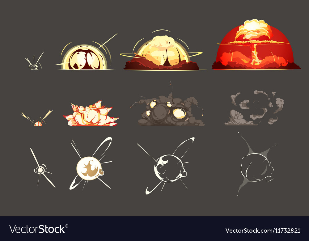 Bomb Explosion Retro Cartoon Icons Collection vector image