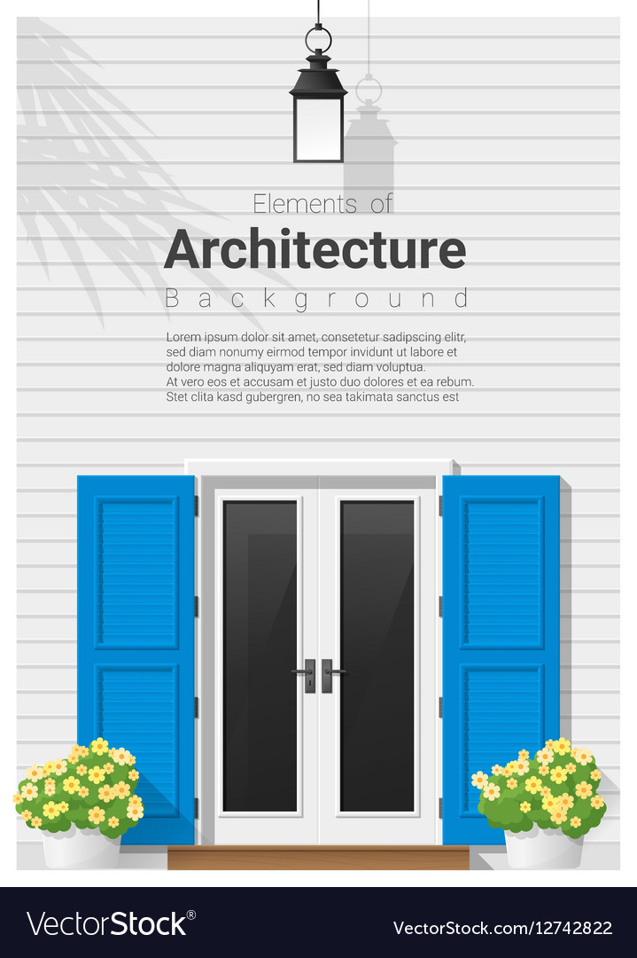 Elements of architecture front door background 14 vector image