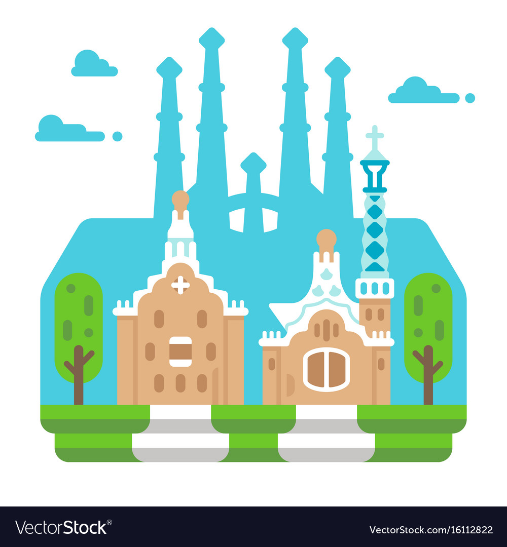 Flat design park guell bacelona vector image