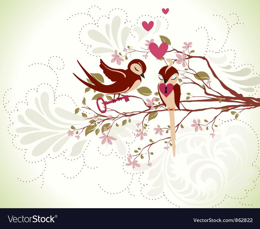 Love birds vector image