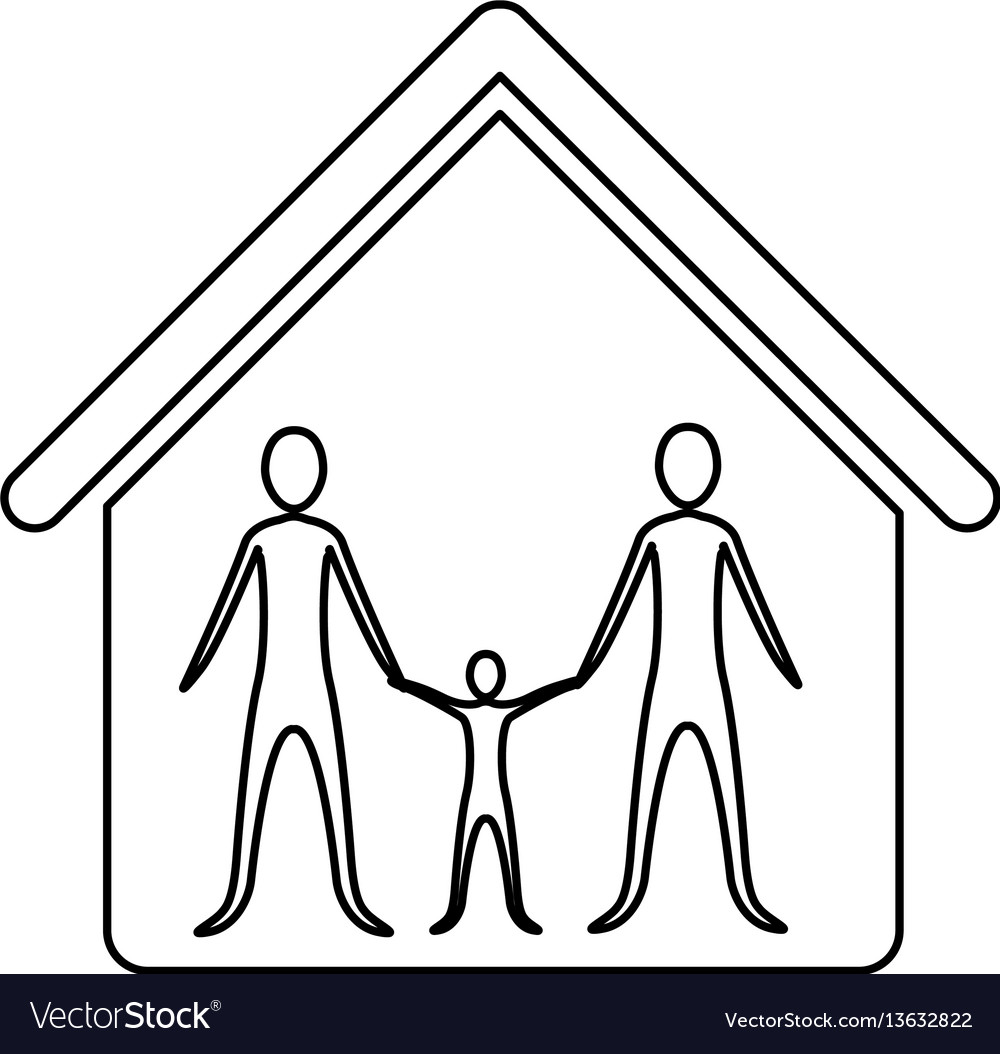 Monochrome contour of family in home vector image