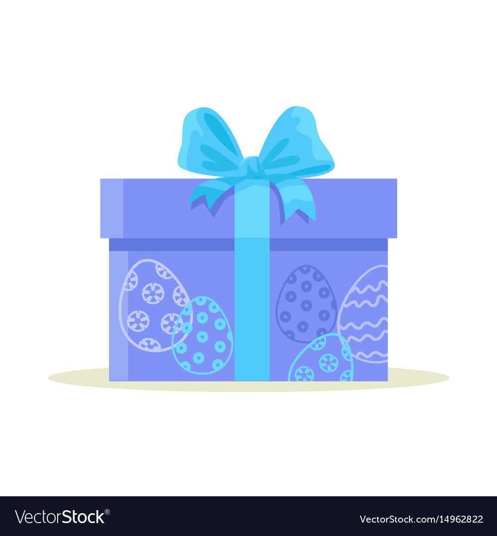 Package wrapped in colorful paper with blue eggs vector image