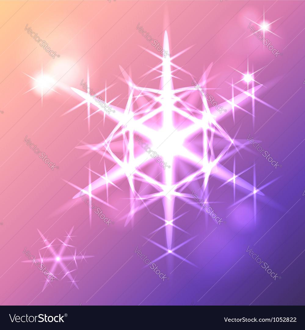 Shining snowflake christmas star vector image