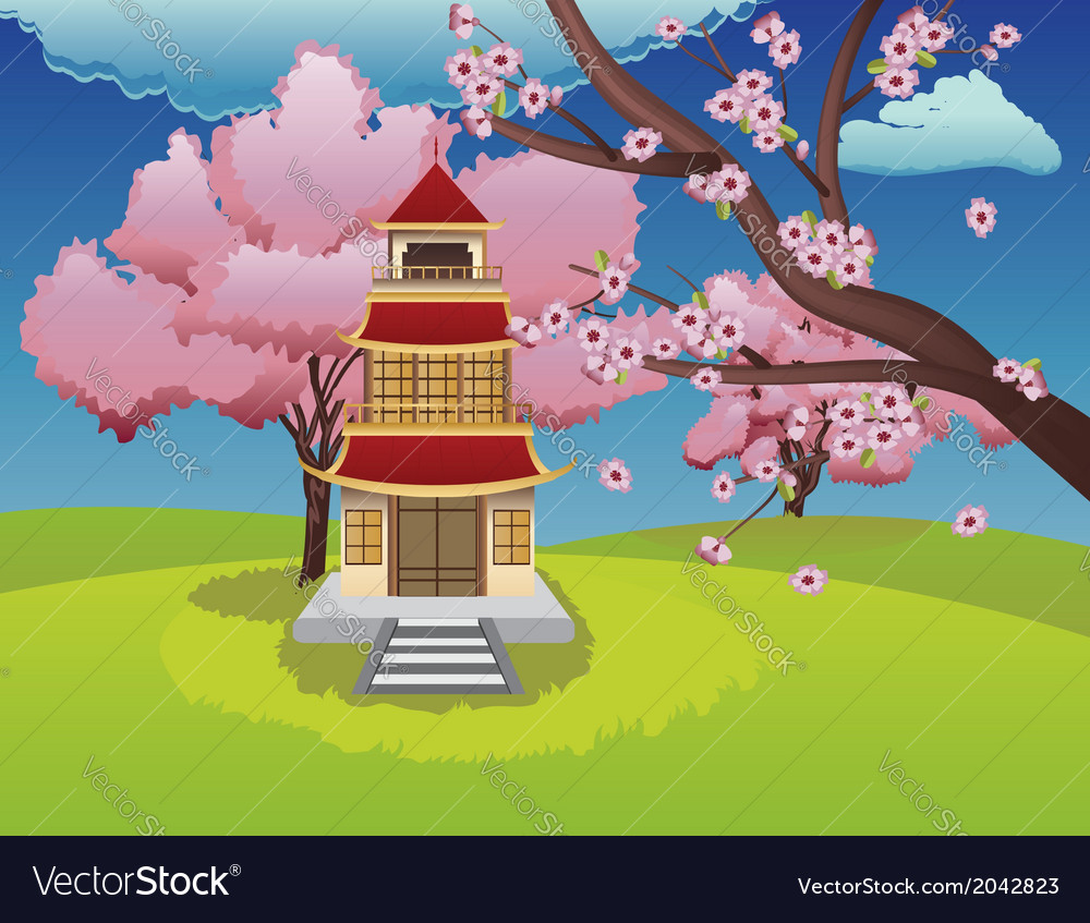 Oriental House and Blooming Sakura vector image