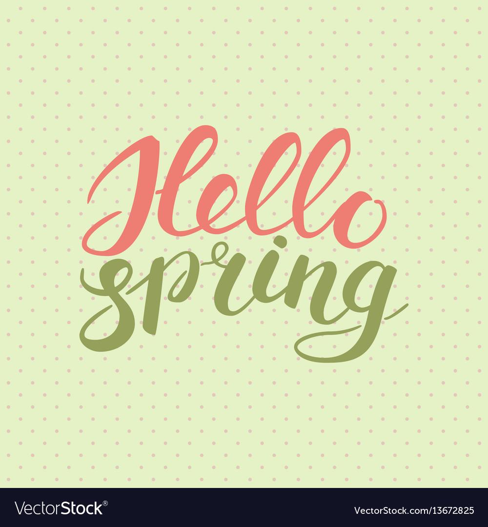Phrase hello spring brush pen color lettering vector image