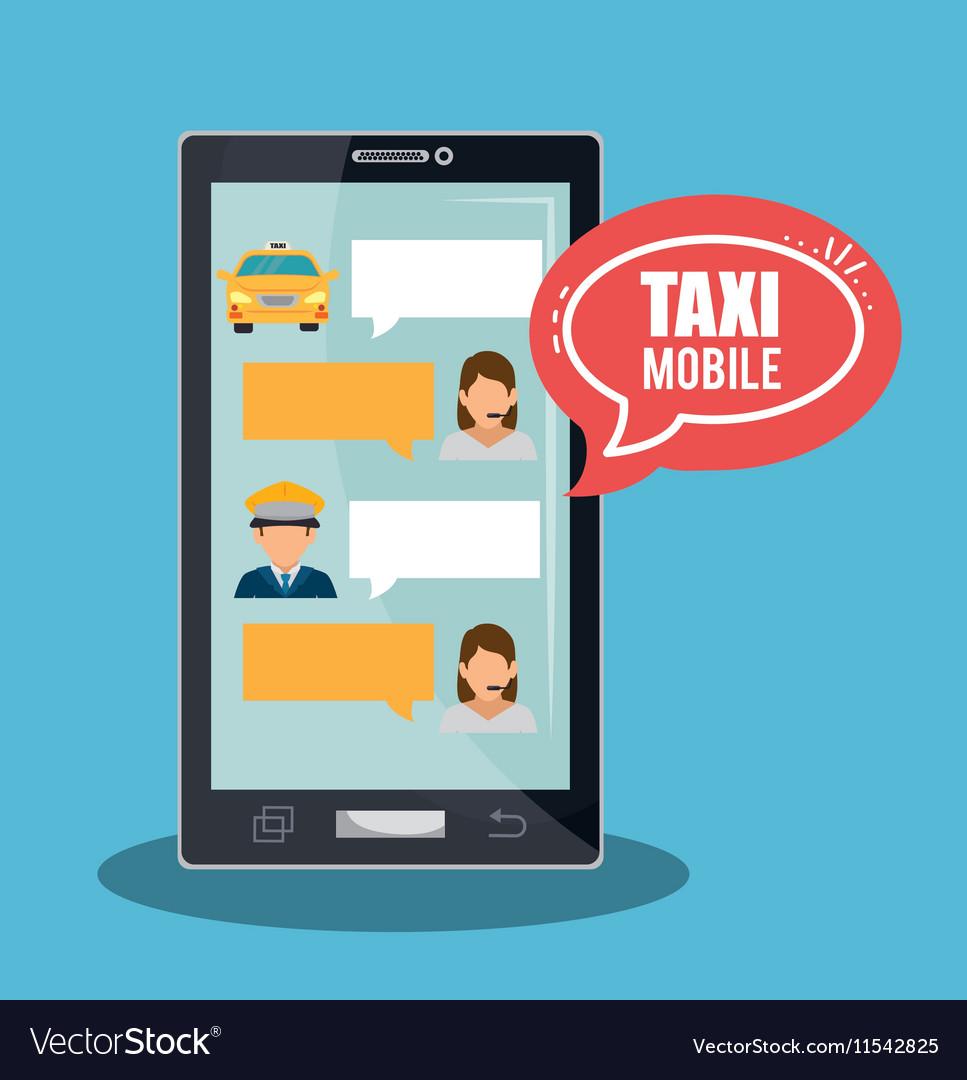 Taxi service call center driver bubble speech vector image