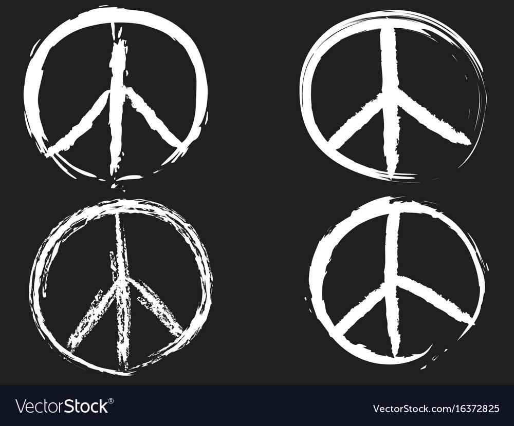 White doodle peace symbol vector image
