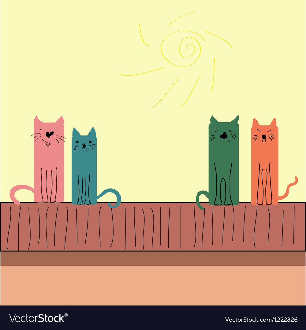 Colorful funny cats sitting on the roof vector image