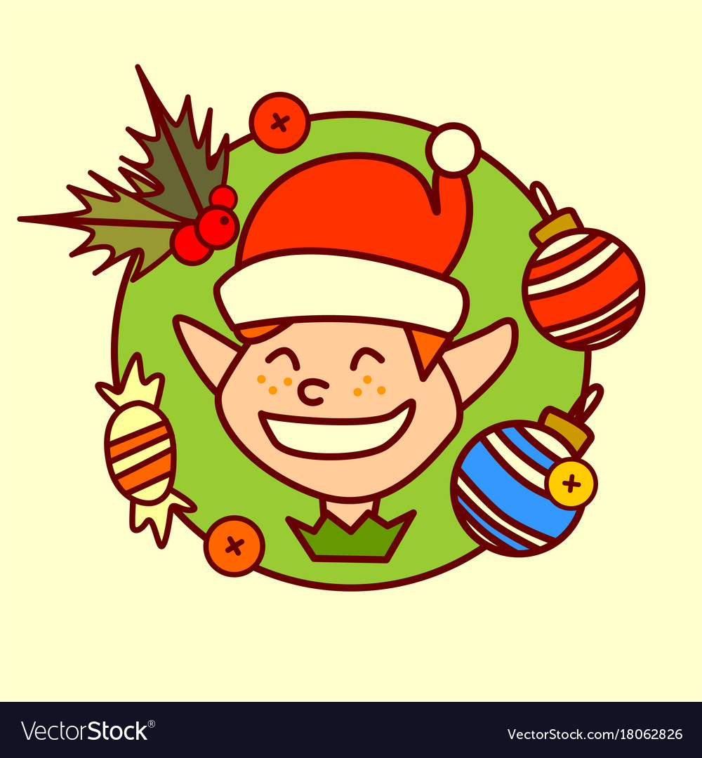 Elf icon merry christmas and happy new year vector image