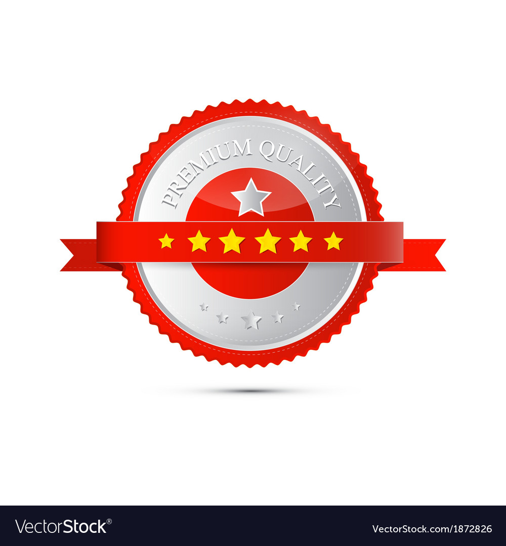 Premium Quality Red and Silver Label Tag vector image
