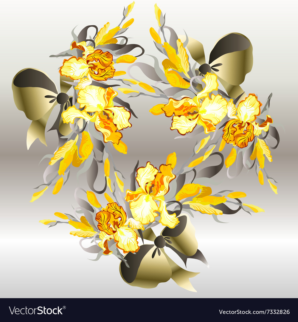 wedding card backgrounds vectors%0A Wedding Card With Yellow Irises Wreath Background Vector Image  Wedding  card yellow background