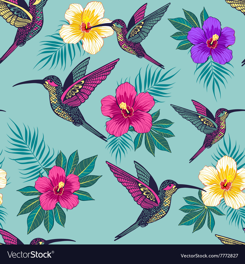 Tropical flowers with a bird pattern vector image