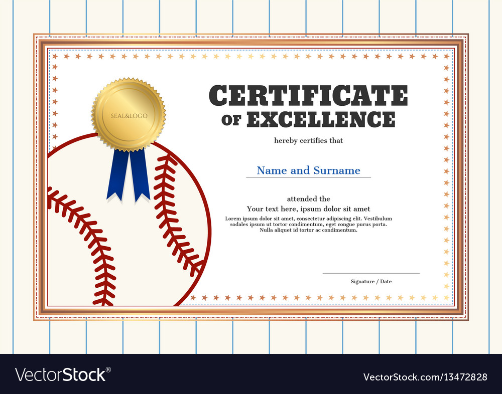 Certificate Of Excellence Template In Sport Theme Vector Image Sport
