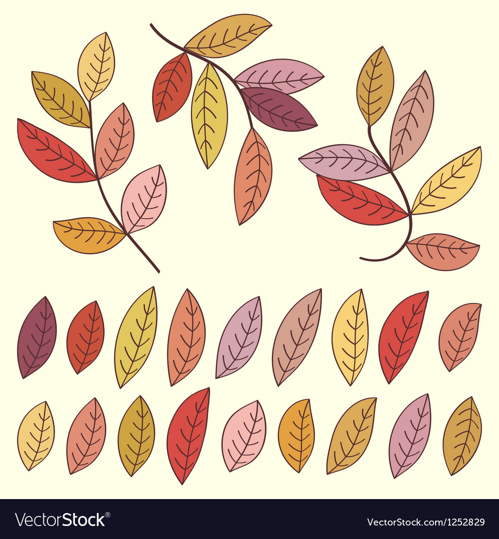 Autumn leaves and tree branches set vector image