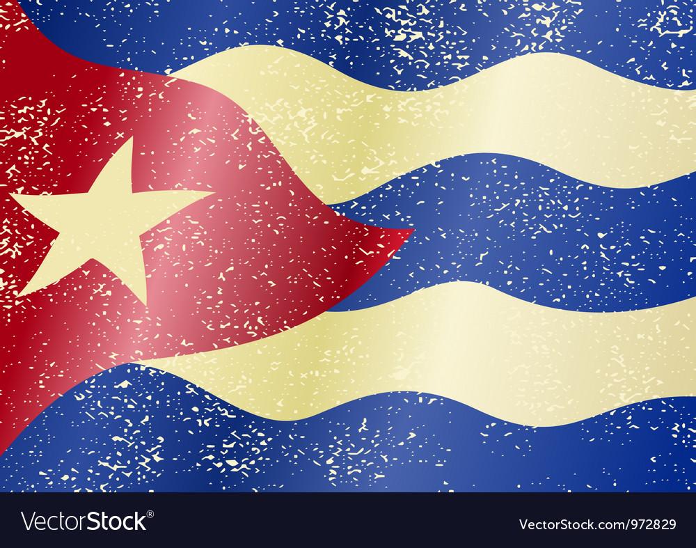 Cuba grunge flag vector image
