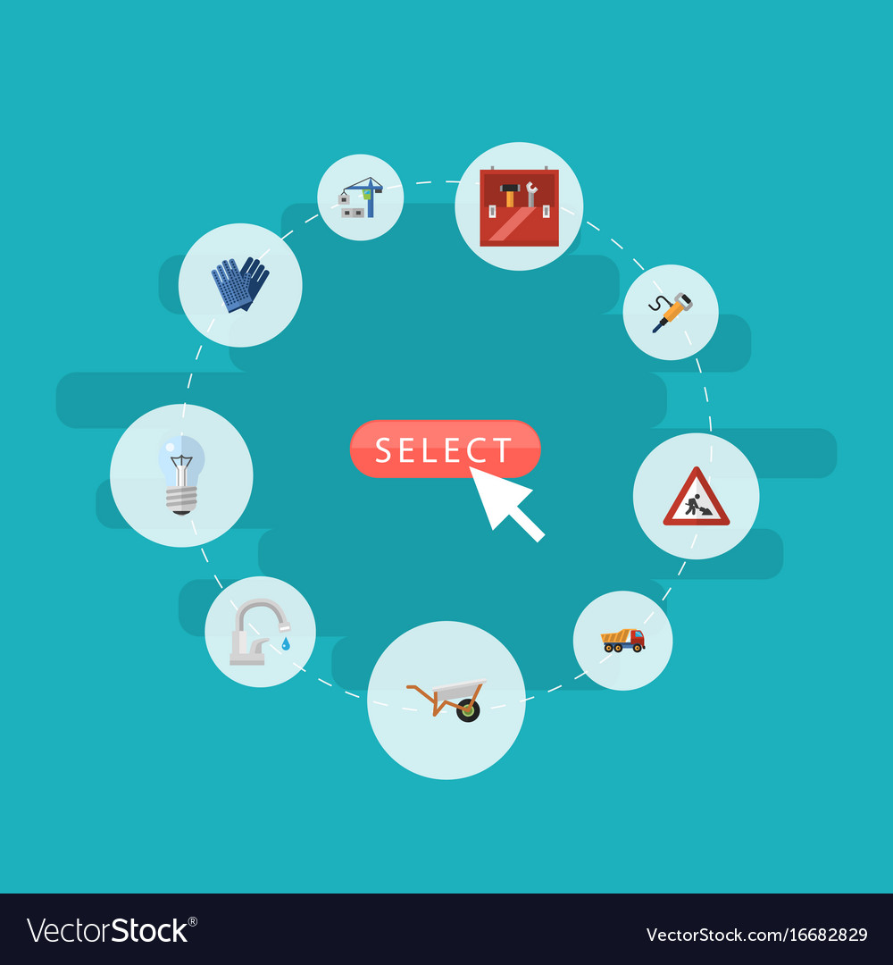 Flat icons pneumatic faucet toolkit and other vector image