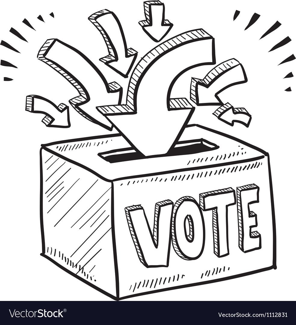 Doodle vote ballot box vector image