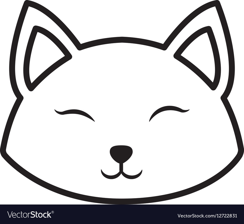 Face cat clossed eyes outline vector image