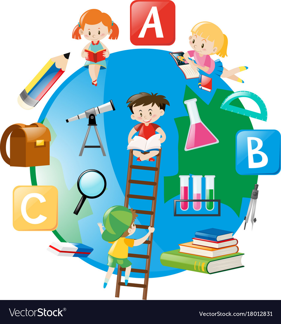 Four students climbing up the ladder on earth Vector Image for Student Climbing Ladder  192sfw