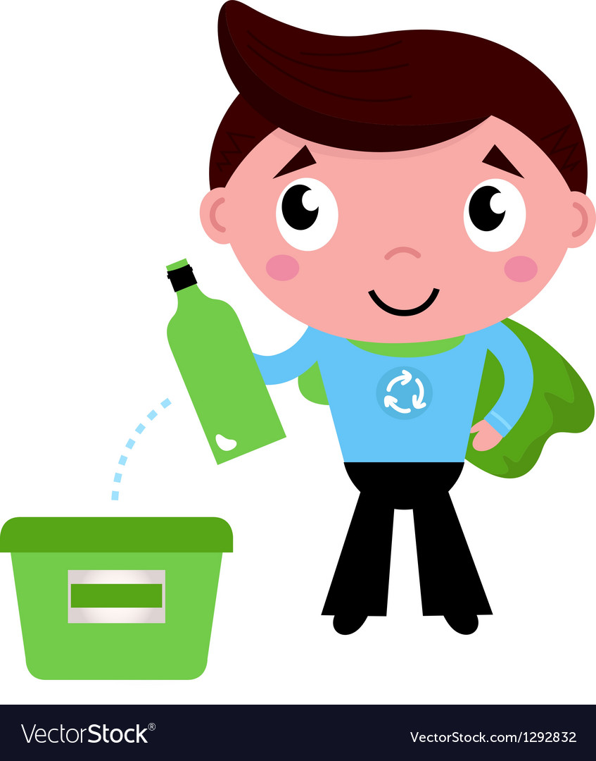 Little recycle super hero recycling garbage vector image