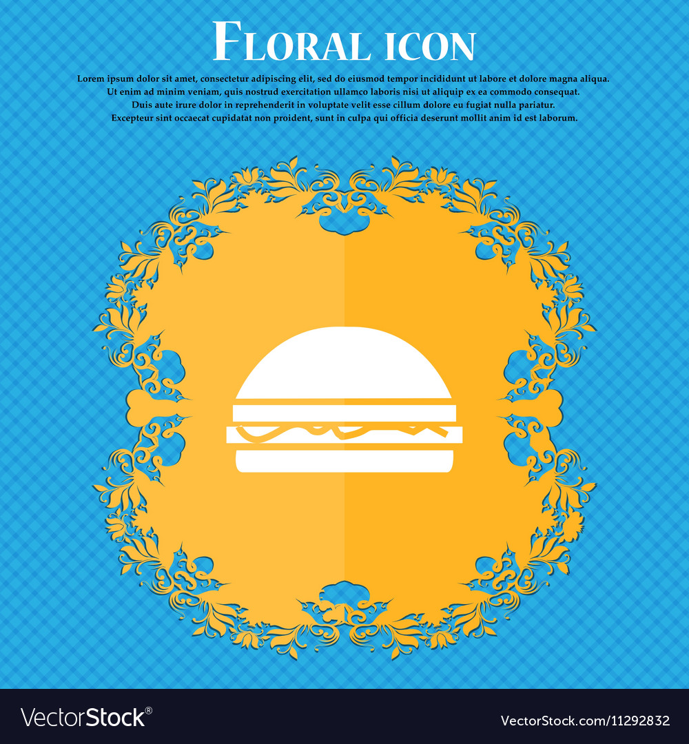 Hamburger icon sign Floral flat design on a blue vector image