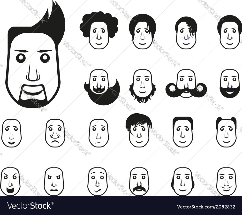 Male icons set with different hairstyle and emotio vector image