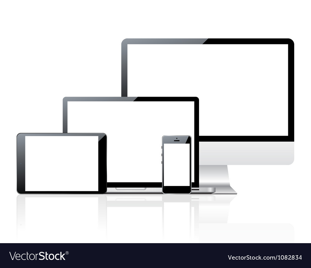 Computer monitor smartphone laptop and tablet pc vector image
