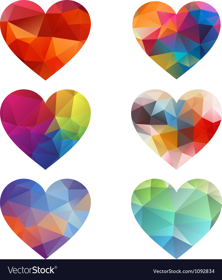 Colorful hearts with geometric pattern vector image