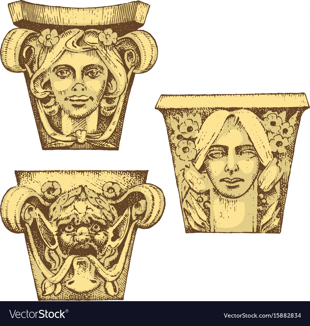 Detail ancient classic building architectural vector image