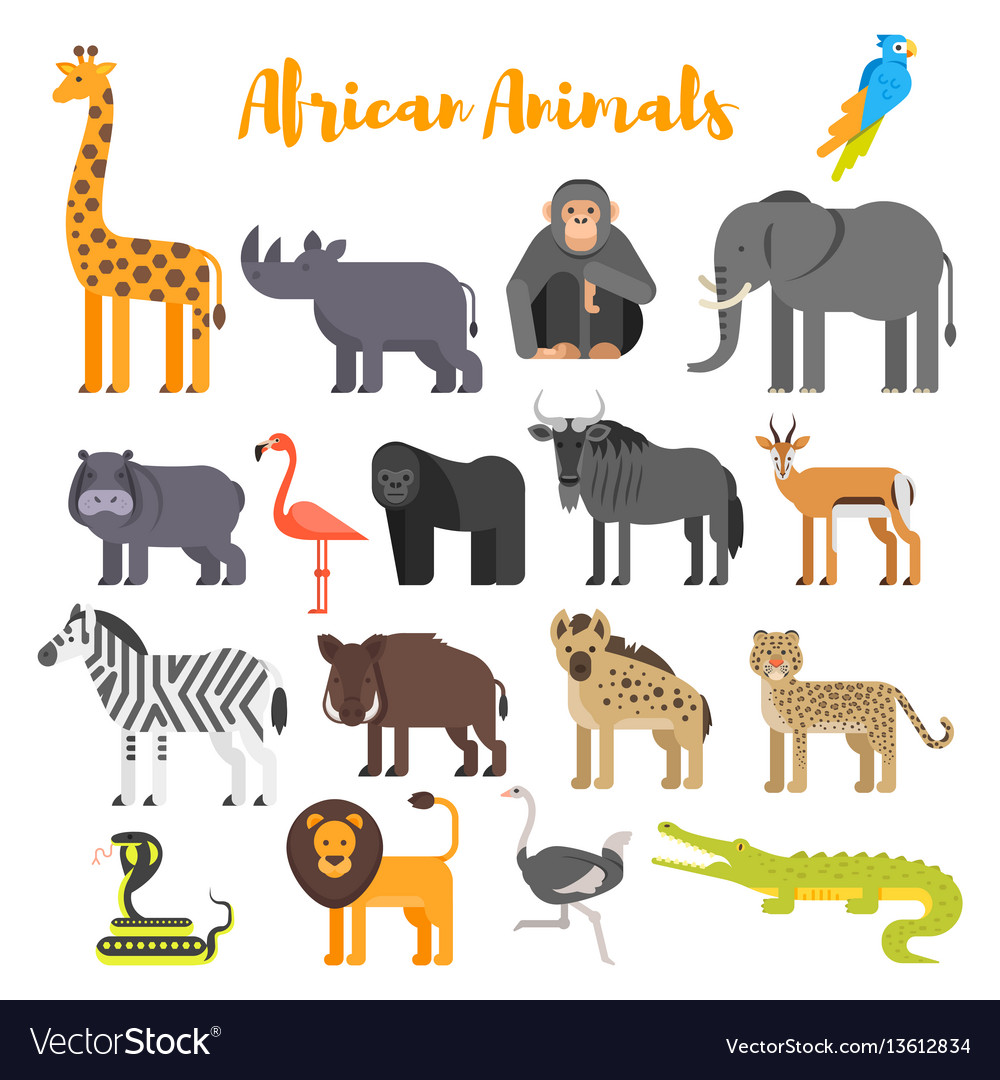 Flat style set of african animals vector image